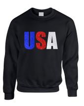 Adult Sweatshirt USA Glitter Flag Colors 4th Of July America