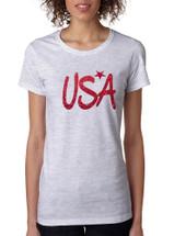 Women's T Shirt USA Red Glitter Love America 4th Of July Tee