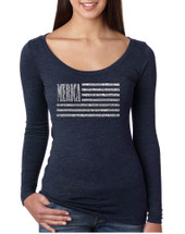Women's Shirt Merica Glitter Silver Flag 4th Of July Tee