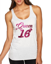 Women's Tank Top Queen 16 Glitter Pink Sweet Sixteen Party Top