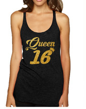 Women's Tank Top Queen 16 Glitter Gold Sweet Sixteen Bday