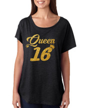 Women's Dolman Queen 16 Glitter Gold Sweet Sixteen Party