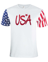 Adult Stars And Strips T Shirt USA Glitter Red 4th Of July Shirt