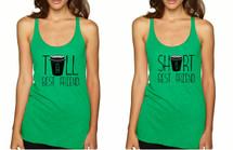 Set Of 2 Tank Top Tall Short Best Friend Coffee Matching Tops