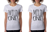 Women's Couple T Shirt Wild One Mild One BFF Set Matching Tees