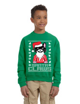 Kids Youth Sweatshirt Santa Claws Cat Ugly Xmas Cute Holiday
