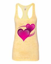 Emoji 2 Hearts Racerback Burnout Tank Top