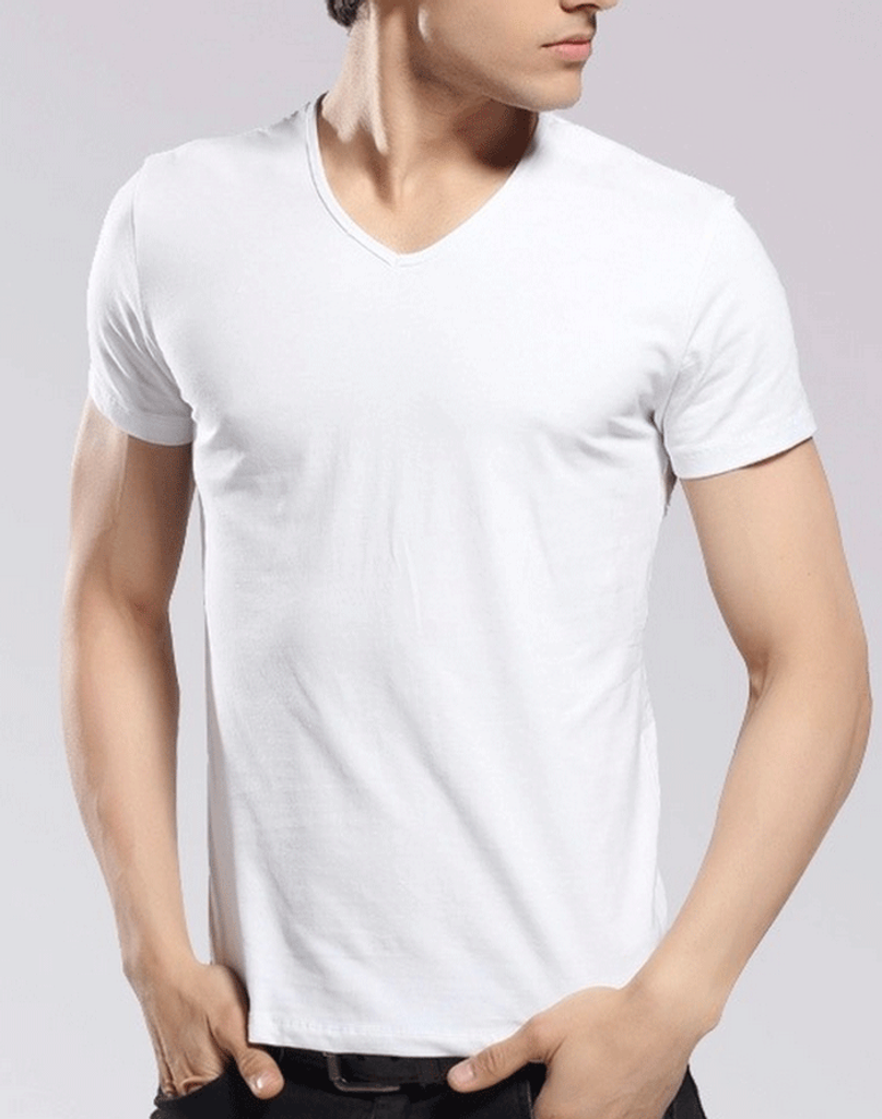 V neck white t shirt by tee tall bytes for Tall v neck t shirts