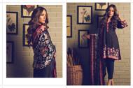 AlKaram Winter Premium Silk Velvet Collection Design - FW-02-Burgundy