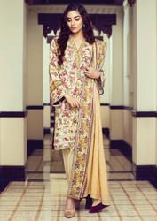 Alkaram Arch Splendor 3 Piece Resham Linen Collection - AW-07-BEIGE