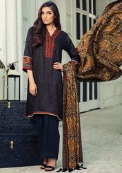 Imperial Grace 3 Piece Resham Twill Linen Collection - 11-BLACK