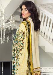 Majestic Horizon 3 Piece Silk Velvet Dupatta Collection - 06-CREAM