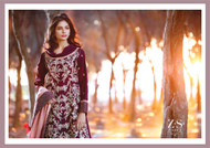 Areeba Saleem Embroidered Peach Leather - AS01