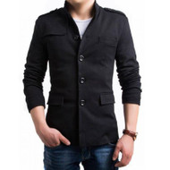 Men's Stylish Coat by Tee Tall - Black