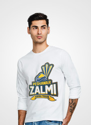 Peshawar Zalmi Full Sleeve V-Neck T-Shirt by Tee Tall - White