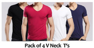 Pack of 4 V Neck T Shirts By Tee Tall