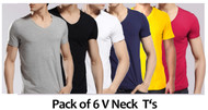 Pack of 6 V Neck T Shirts by Tee Tall