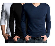 Set Of 3 Long Sleeves V Neck T-Shirts By Tee Tall