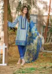 Al Karam LAWN 3 PIECE - CHIFFON WITH EMBROIDERY Design SS-133-Blue