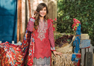 Al Karam LAWN 3 PIECE - CHIFFON WITH EMBROIDERY Design SS-132-Maroon