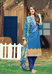 Al Karam LAWN 3 PIECE - CHIFFON WITH EMBROIDERY Design SS-132-Blue