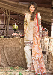 Al Karam LAWN 3 PIECE - CHIFFON WITH EMBROIDERY Design SS-128-Beige