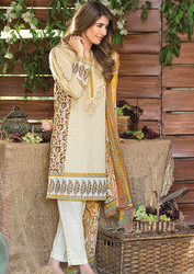 Al Karam LAWN 3 PIECE - CHIFFON WITH EMBROIDERY Design SS-128-Mustard