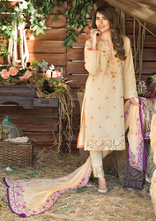 Al Karam LAWN 3 PIECE - CHIFFON WITH EMBROIDERY Design SS-5-Yellow