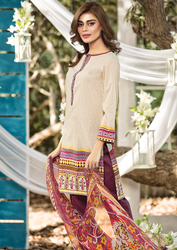 Al Karam LAWN 3 PIECE - PRINTED LAWN WITH CHIFFON DUPATTA Design SS-137-Purple