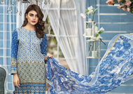 Al Karam LAWN 3 PIECE - PRINTED LAWN WITH CHIFFON DUPATTA Design SS-135-Blue