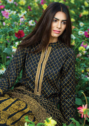 Al Karam LAWN 3 PIECE - EXCLUSIVE CHIFFON WITH EMBROIDERY Design SS-145-Black