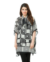 Valerie Black Printed Chiffon Poncho with Stole - PON05 NV