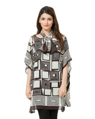 Valerie Brown Printed Chiffon Poncho with Stole - PON05 BR