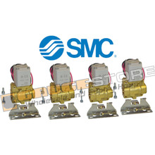 "4 Pack of 1/2"" SMC pneumatic air valves part number VXD232CZ1DBXB"