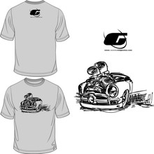 Grey Tee Shirt With Engine
