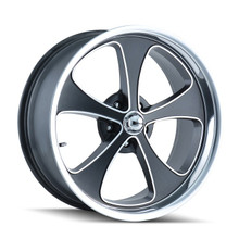 Ridler 645 Black/Machined Face/Polished Lip 18x9.5 5-127 0mm 83.82mm