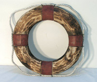 Nautical Antiqued Wooden Life Ring Preserver