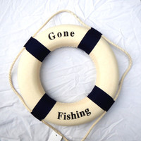 BLUE Bouys Gone Fishing Life Rings