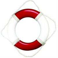 "20"" Plain Vinyl Red White Life Preservers Buoys"