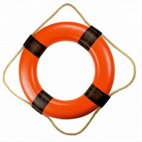 Plain Vinyl Orange Nautical Ring Buoys