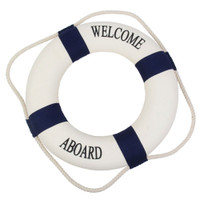"20"" Welcome Aboard Life Preserver Ring Buoy Navy"