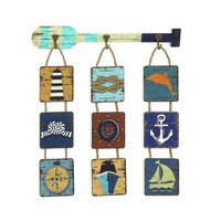 Nautical Paddle Plaque Hanger with Hooks