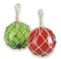 """6"""" Glass Ball Buoy Floats Red & Green Set"""