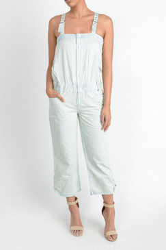 Denim jeans button down adjustable strap jumpsuit