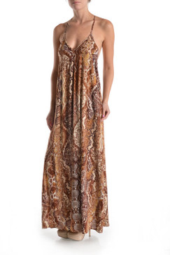 Multi Snake Print Maxi Dress with Unique Crochet T Back