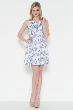 Sleeveless airbrush rose print dress