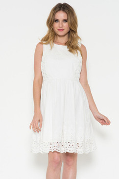 Sleeveless cotton dress with an A-line silhouette