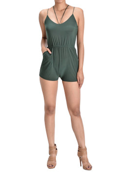 Spaghetti two strap romper with pockets