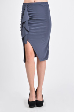 Asymmetrical pencil skirt with cascading ruffles