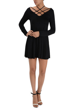 Sexy Strappy Long Sleeve Skater Dress